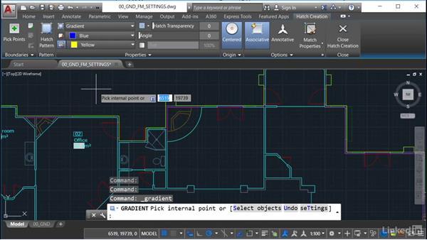 Setting gradient fills: AutoCAD Facilities Management: Occupancy