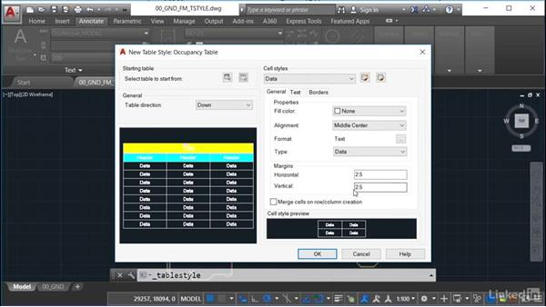Setting up the table data: AutoCAD Facilities Management: Occupancy
