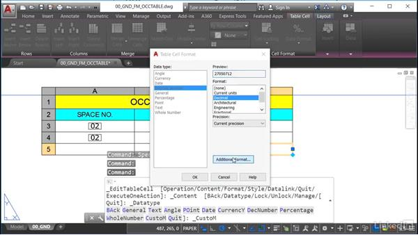 Using appropriate unit annotation in the table: AutoCAD Facilities Management: Occupancy