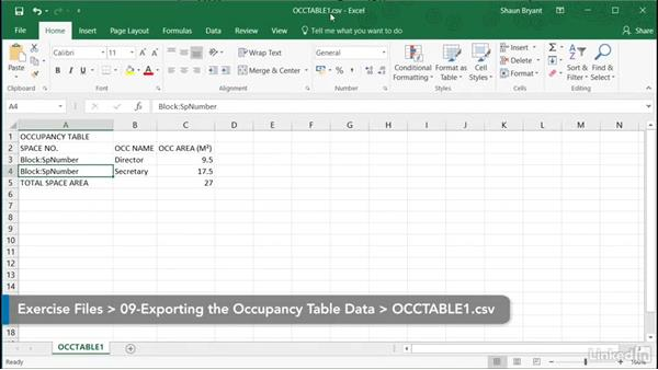 Editing exported occupancy table data in Excel: AutoCAD Facilities Management: Occupancy