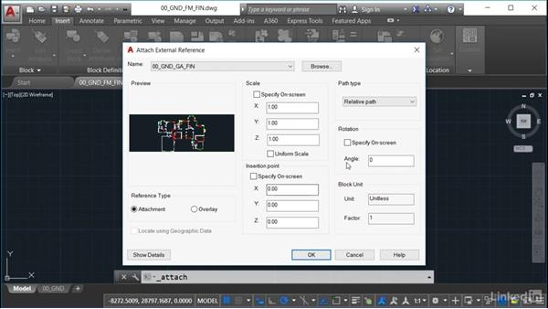 Referencing in the structural drawing: AutoCAD Facilities Management: Space Management