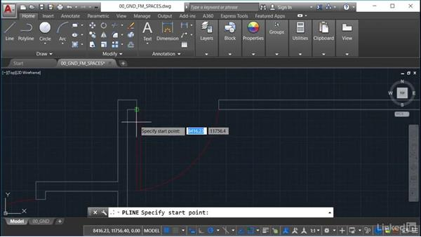 Creating space polylines: AutoCAD Facilities Management: Space Management