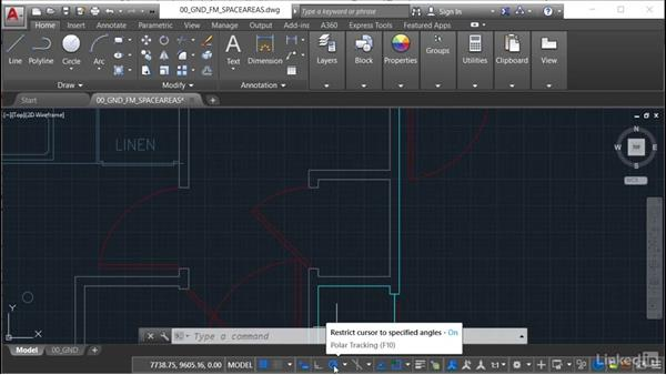 Using object snaps and centerlines: AutoCAD Facilities Management: Space Management