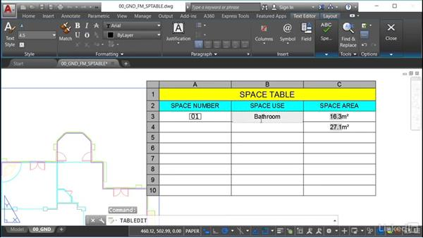 Adding space area attribute data: AutoCAD Facilities Management: Space Management
