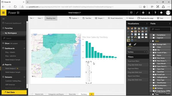 Use a slicer to filter visualizations: Power BI Pro Essential Training