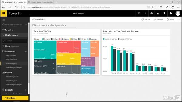 Pin a report page as a live tile: Power BI Pro Essential Training