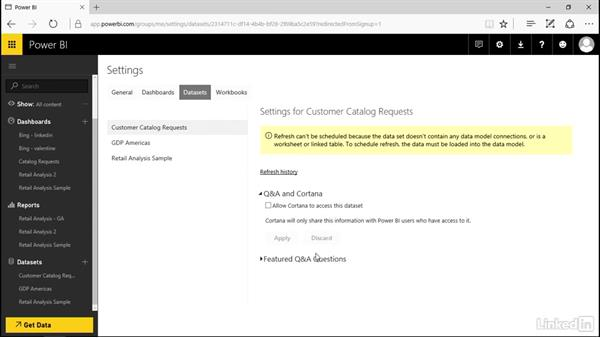 Enable Cortana for Power BI: Power BI Pro Essential Training