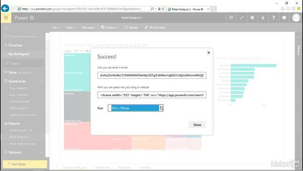 Publish a report to the web: Power BI Pro Essential Training