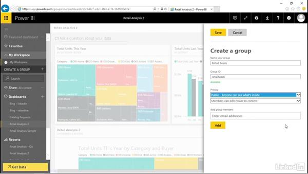 Create a group and add users: Power BI Pro Essential Training