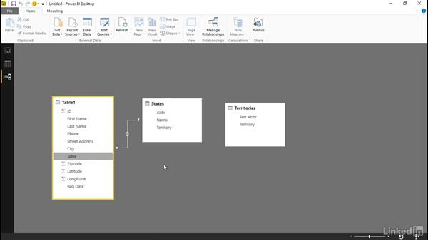 Create relationships between tables: Power BI Pro Essential Training