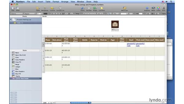 Using Address Book data: Numbers '09 Essential Training
