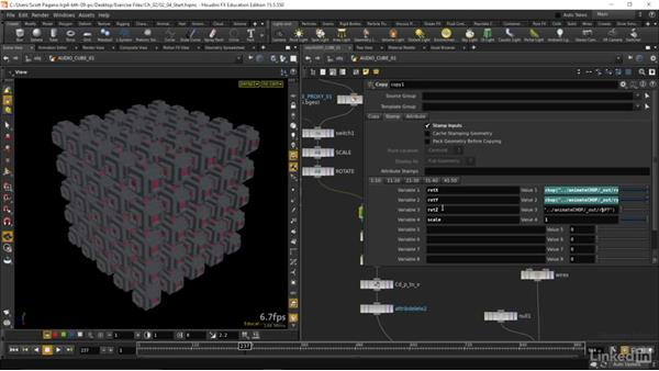 Applying our animation channels to geometry: Houdini: Advanced Motion Graphics