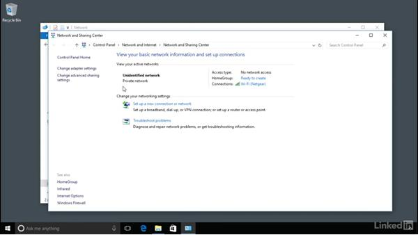 Connecting to another computer over a simple network: Windows 10 Anniversary Update Essential Training