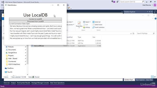 List the apps that use LocalDB: Visual Studio 2015 Essentials 11: Data Tools