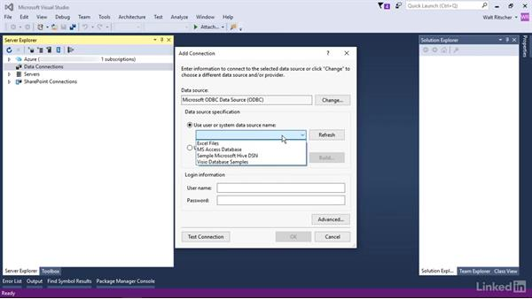 Data connections available in SQL Server: Visual Studio 2015 Essentials 11: Data Tools