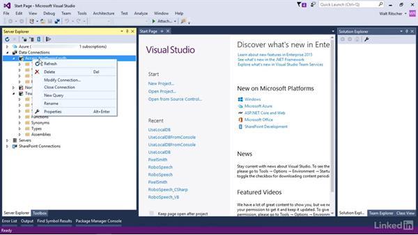 Manage connections: Visual Studio 2015 Essentials 11: Data Tools