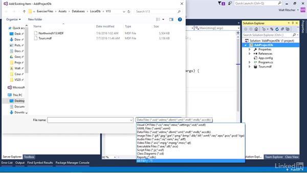 Add a project level database: Visual Studio 2015 Essentials 11: Data Tools