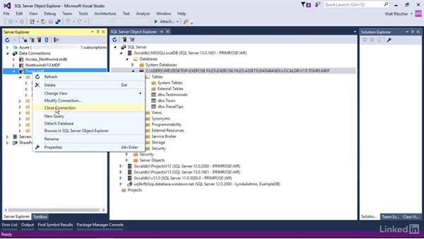 Interaction with Server Explorer from SSOE: Visual Studio 2015 Essentials 11: Data Tools
