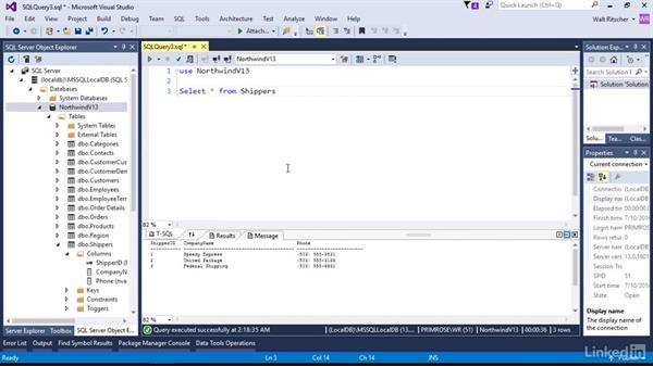 Use the Query window: Visual Studio 2015 Essentials 11: Data Tools