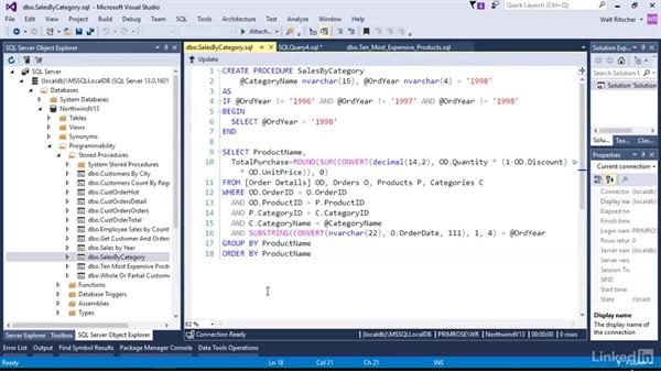 Work with existing Stored Procedures: Visual Studio 2015 Essentials 11: Data Tools