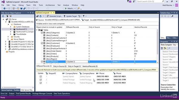 Data comparison: Visual Studio 2015 Essentials 11: Data Tools