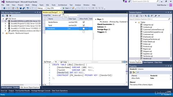 Change a table or other data item: Visual Studio 2015 Essentials 11: Data Tools