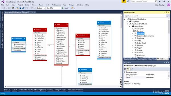 Use the Model Browser window: Visual Studio 2015 Essentials 11: Data Tools