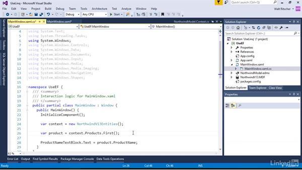 Use LINQ to query the EDM: Visual Studio 2015 Essentials 11: Data Tools