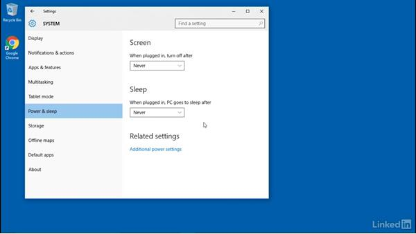 Configure power policies in the Control Panel: Windows 10: Manage Remote Access