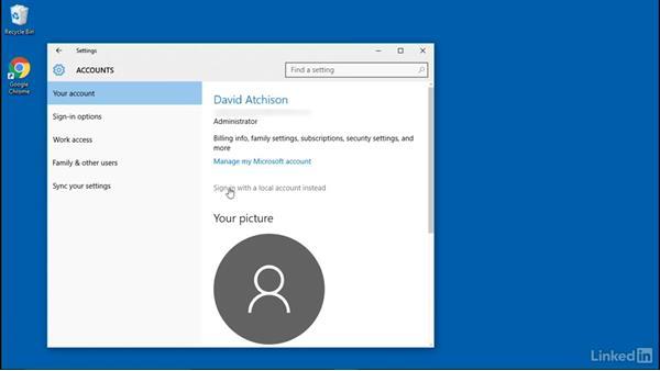 Configure sync options: Windows 10: Manage Remote Access