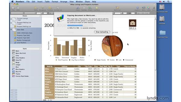 Sharing spreadsheets with iWork.com: Numbers '09 Essential Training