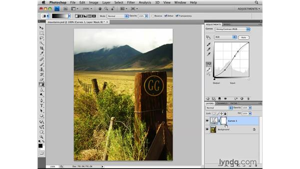 Using the adjustment layer mask: Photoshop CS4: Image Adjustments in Depth