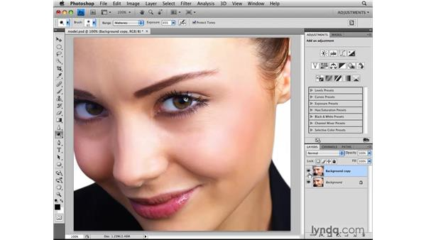 Using the Dodge and Burn tools: Photoshop CS4: Image Adjustments in Depth