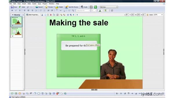 Aligning and distributing objects: Captivate 4 Essential Training