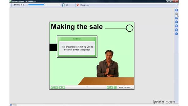 Finishing and previewing your project: Captivate 4 Essential Training