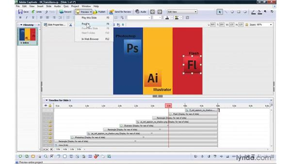 Adding transitions to objects: Captivate 4 Essential Training