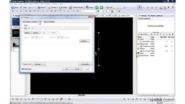 Adding audio to an object: Captivate 4 Essential Training