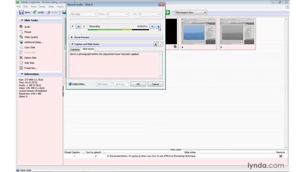 Recording and adding voiceovers: Captivate 4 Essential Training