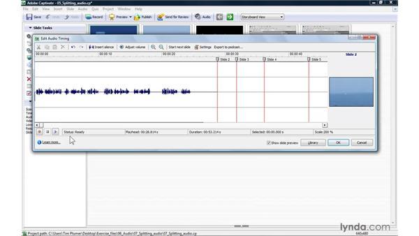 Splitting audio among slides: Captivate 4 Essential Training