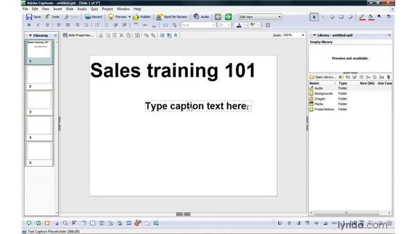 Creating project templates: Captivate 4 Essential Training