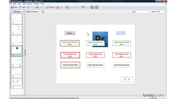 Creating design templates: Captivate 4 Essential Training