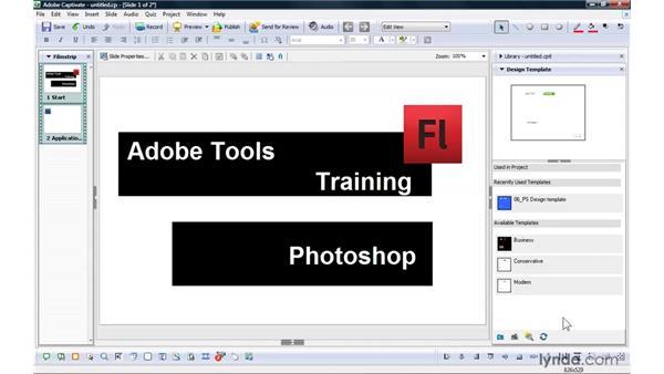 Using design templates: Captivate 4 Essential Training
