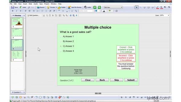 Creating assessment templates: Captivate 4 Essential Training