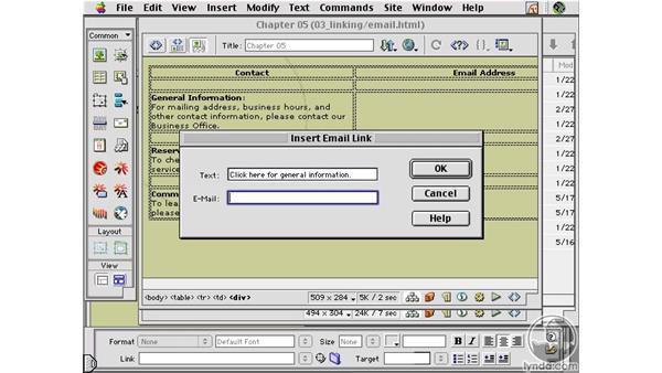 Email Links : Learning Dreamweaver 4
