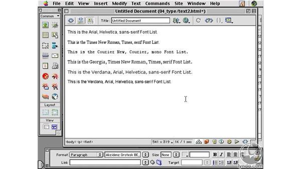 Changing Font Sets : Learning Dreamweaver 4