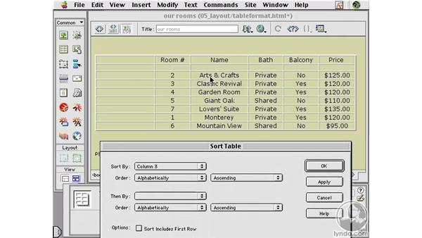 Sorting Table Data : Learning Dreamweaver 4