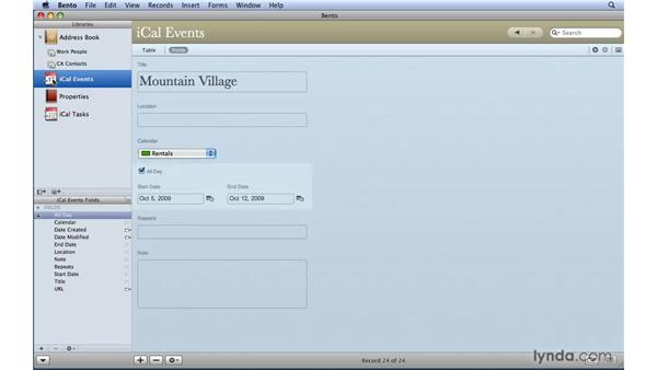 Updating Address Book and iCal data from Bento: Bento 2 Essential Training