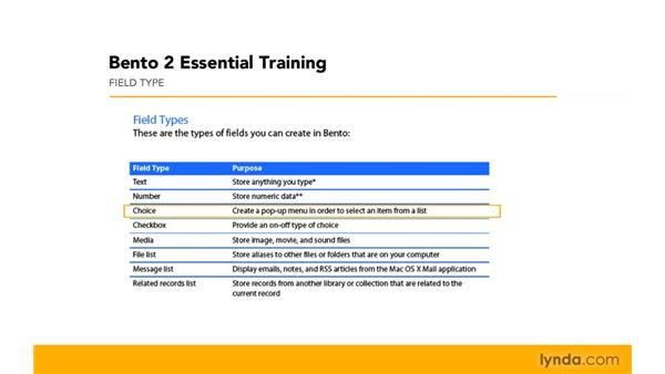 Reviewing field types: Bento 2 Essential Training