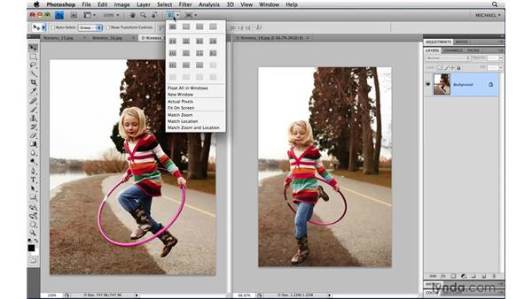 The Arrange Documents widget: Photoshop CS4 Power Shortcuts