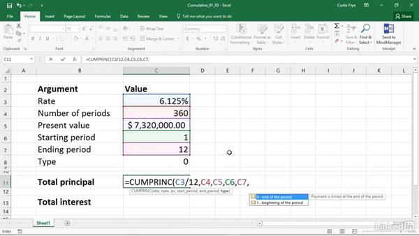 CUMPRINC and CUMIPMT: Calculating cumulative principal and interest paid between periods: Excel 2016: Financial Functions in Depth